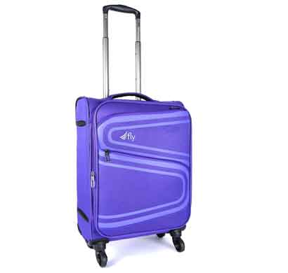 fly splash 59 cms blue nylon cabin 4 wheels soft trolley luggage suitcase