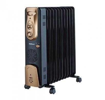 havells ofr 11 fin with fan oil filled radiator (golden & black)
