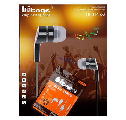 hitage hp-68 wired earphone (black)
