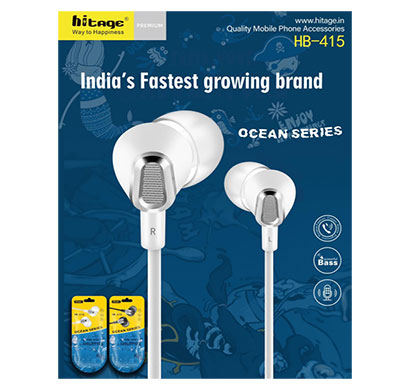hitage ocean series hb-415 in-ear extra bass earphone (black & white)