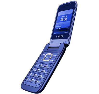 ikall k65 feature phone (flip dual sim multimedia mobile with double lcd 2.4 inch big display, camera and vibration), multicolor