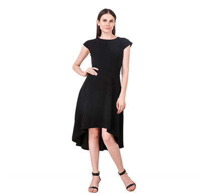 intimodo polyster (karera) women high-low knee length dress ( black)