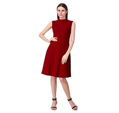 intimodo polyester (kreta) women knee length dress ( maroon)