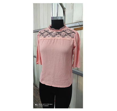 intimodo women top crincle rayon top with nylon lace neck ( rusty pink)