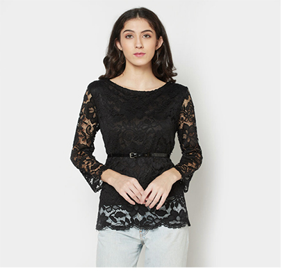 intimodo women top with belt nylon lace ( black)