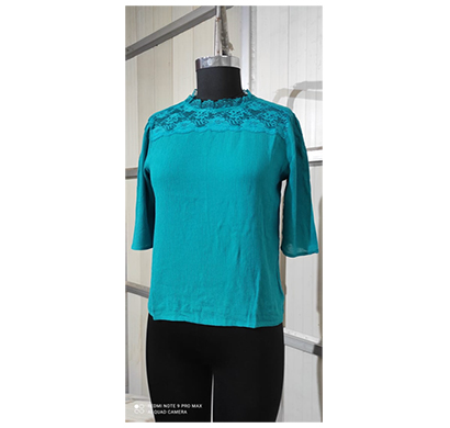 intimodo women crincle rayon top with nylon lace neck ( turquise)