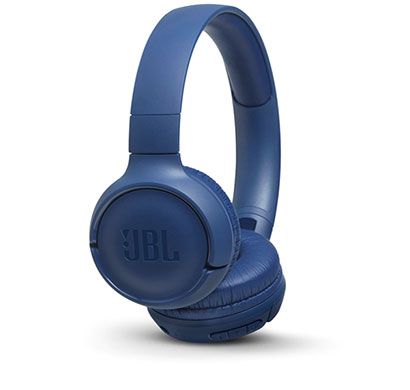 jbl (t500bt) powerful bass wireless over ear headphones with mic (blue)