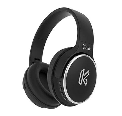 klikk rock on 101 wireless bluetooth over the ear headphone with mic (black)