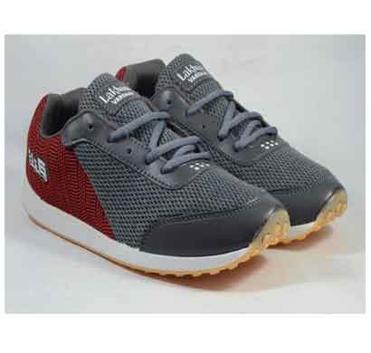lakhani sports shoes dark gray red for men (bolt 01)