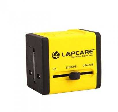 lapcare world travel adaptor with dual usb -global trotter (yellow)