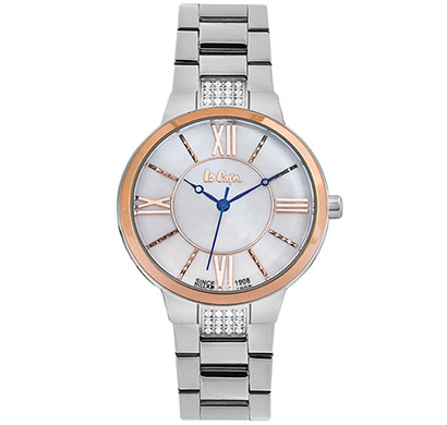 lee cooper (lc06477520) round analog mother of pearl dial ladies watch