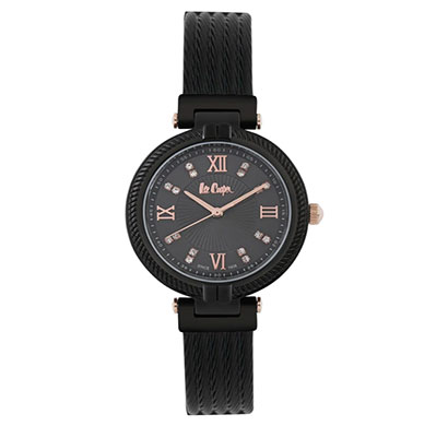 lee cooper (lc06777650) black dial analog watch for women