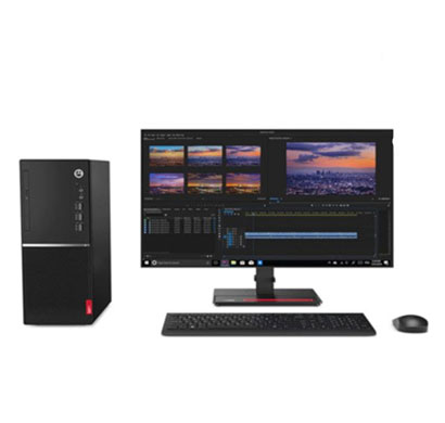 lenovo v530 (11bgs09100) tower desktop (intel core i3-9100/ 9th gen/ 4 gb ram/ 1 tb hdd/ dos/ with dvd/ 19.5 inch monitor/ 3 years warranty) black