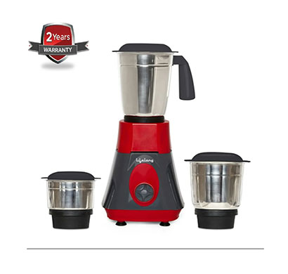 lifelong copper motor mixer grinder llmg72 (weight 2.73kg) super boost 500-watt 100% (black-red,3 jars)