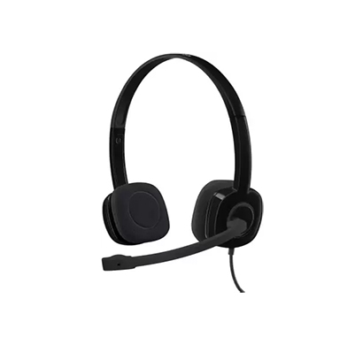 logitech h151 headset with noise-cancelling boom microphone,3.5 mm wired headset