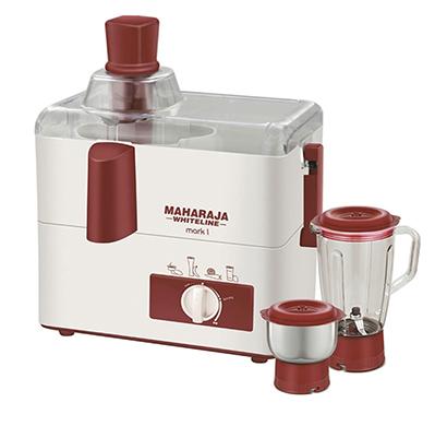 maharaja whiteline, mark 1, juicer mixer grinder, plastic body, copper winding motor (red + white)