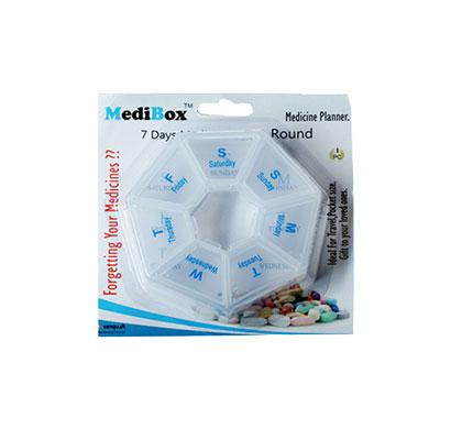 medibox round 7-day round pill box (white)