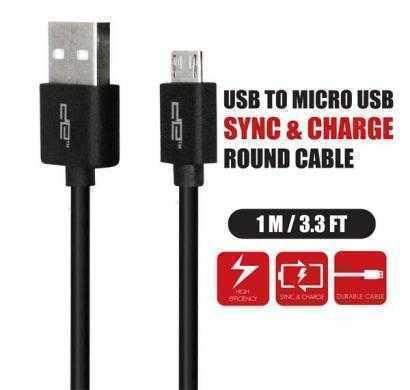 micro usb round cable black deca-1001r(blk)