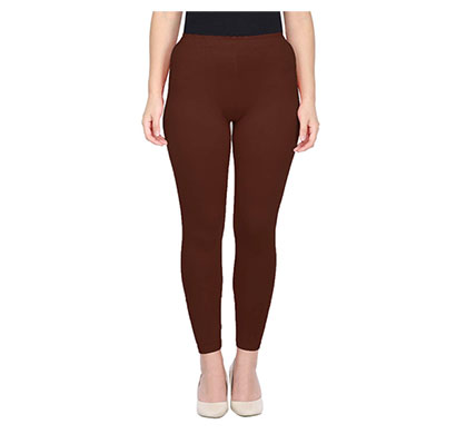 mks impex cotton lycra ankle length leggings for women & girls (brown)