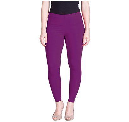 mks impex cotton lycra ankle length leggings for women & girls (purple)