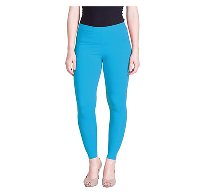 mks impex cotton lycra ankle length leggings for women & girls (sky blue)