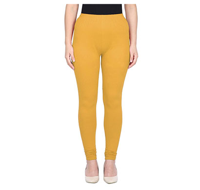 mks impex women's churidar leggings soft cotton lycra 4 way stretchable (yellow)