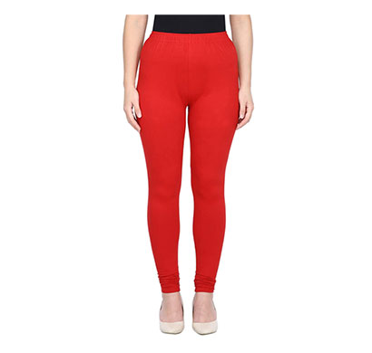 mks impex women's churidar leggings soft cotton lycra 4 way stretchable (red)