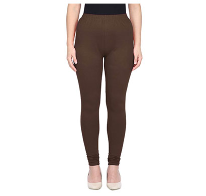 mks impex women's churidar leggings soft cotton lycra 4 way stretchable (brown)