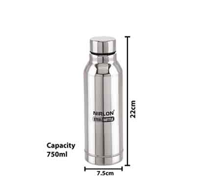 nirlon lagoon stainless steel water bottle (750 ml) silver