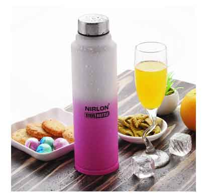 nirlon aqua pink and white water bottle (1000 ml)