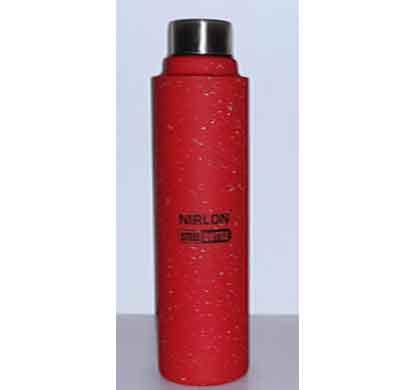 nirlon aqua red white spatter 1000ml stainless steel freezer bottle (70023)
