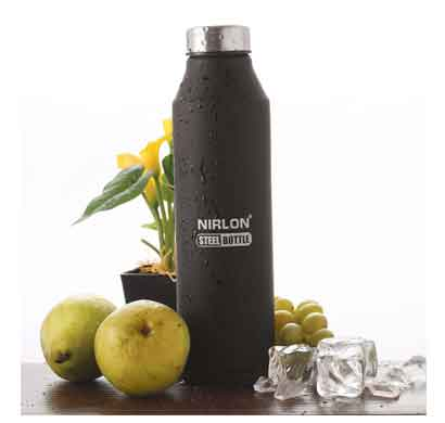 nirlon crystal (1000 ml) stainless steel water bottle with black color (70056)