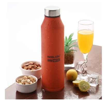 nirlon crystal orange (1000 ml) stainless steel water bottle (70057)