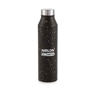 nirlon crystal black white spatter (1000 ml) stainless steel water bottle (70063)