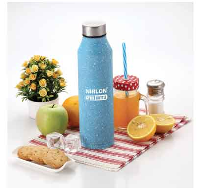 nirlon crystal blue white spatter (1000 ml) stainless steel water bottle (70064)
