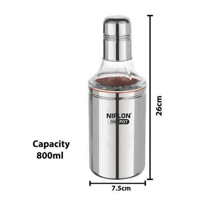 nirlon oil pot stainless steel oil dispenser (800ml) silver