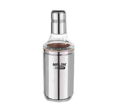 nirlon oil pot stainless steel oil dispenser (600 ml) silver
