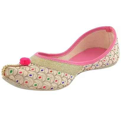 rf nagra designer ethnic rajasthani jaipuri velvet mojari jutti bellies for women & girls (pink)
