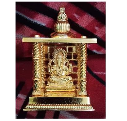 sankalan art gallery temple ganesh, made of aluminium, gold plated, ht. 5 inch.
