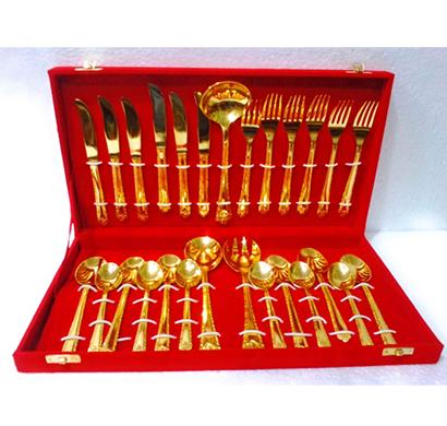 Sankalan Art Gallery Cutlery Set 27 Piece , Gold Plated Brass, Velvet Box Pack