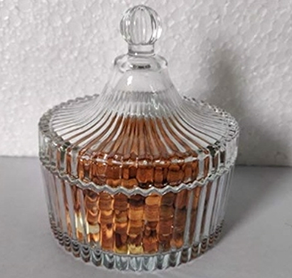 sankalan art gallery glass candy jar, transparent, multi purpose, ht. 5 inch.