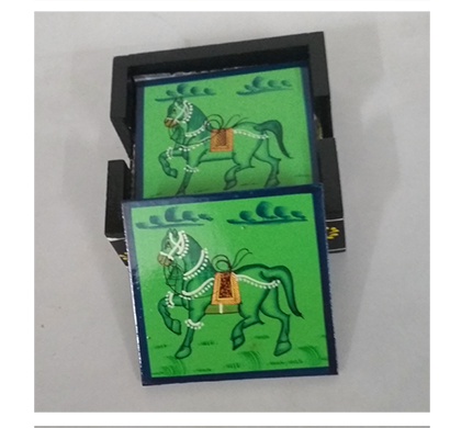 sankalan art gallery wooden coasters, 6 pieces, mango wood, hand painted, square shape, rajasthani design, 10 cm