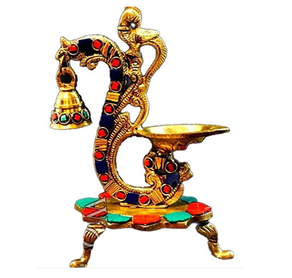 sankalan art gallery brass peacock bell diya, coloured stones fitted, stones' colour may vary, showpiece, ht. 8
