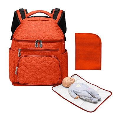 shopizone baby diaper/nappy changing travel backpack bag for mom/dad with thermal insulated pockets for milk bottle, changing mat, dry & wet compartments, stroller strap (orange)