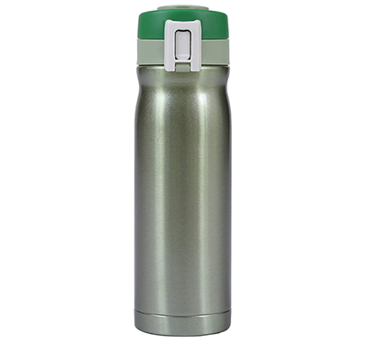 shopizone insulated water bottle stainless steel vacuum thermos flask leak-proof travel sports bottle (green)