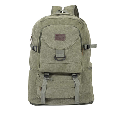 shopizone canvas backpack large travel backpack rucksack casual daypack for trekking hiking camping (olive)