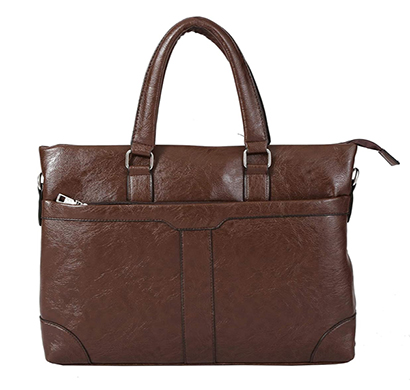 shopizone leather handbag shoulder bag office purse for ladies women (brown)