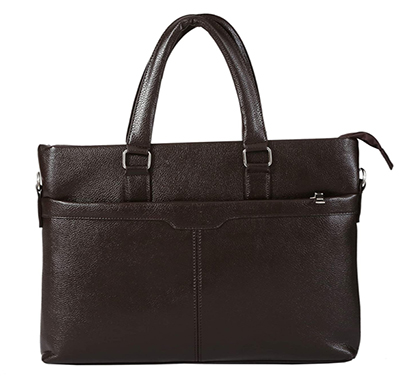 shopizone leather handbag shoulder bag office purse for ladies women (dark brown)