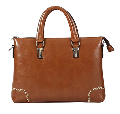 shopizone leather handbag shoulder bag office purse for ladies women (light brown)