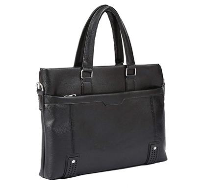 shopizone leather handbag shoulder bag office purse for ladies women (black)